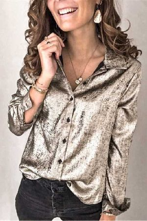 Button down metallic material loose fit shirt